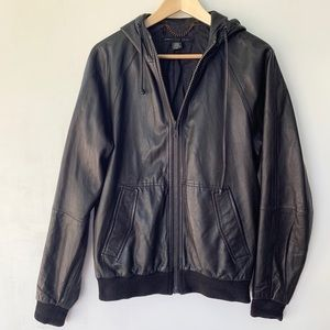Marc by Marc Jacobs Black Leather Hooded Jacket